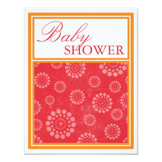 Vibrant Pop Red Orange Baby Shower Invitations