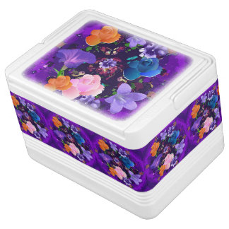 Vibrant Purple Abstract Floral 12 Can Igloo Cooler