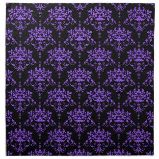 Vibrant Purple and Black Victorian Damask Napkins