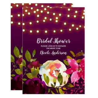 Vibrant Purple Bright Bold Flowers Bridal Shower Card