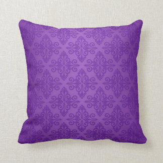 Vibrant Purple Damask Pattern Throw Pillow