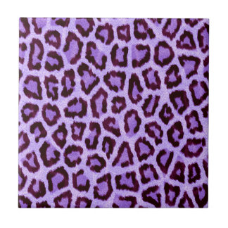 Vibrant Purple Leopard Fur Print Ceramic Tile