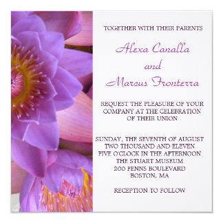 Vibrant Purple Lotus Flower Wedding Invitation