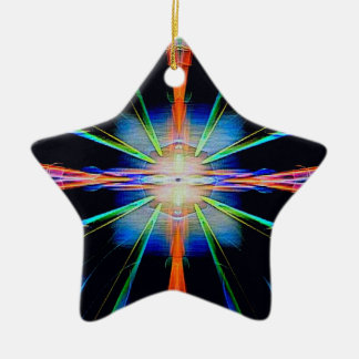 Vibrant Radiating Funky Pattern Ceramic Ornament