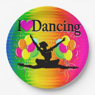 VIBRANT RAINBOW I LOVE DANCING DESIGN 9 INCH PAPER PLATE