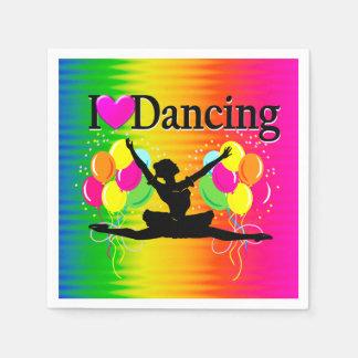 VIBRANT RAINBOW I LOVE DANCING DESIGN DISPOSABLE NAPKINS