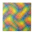 Vibrant Rainbow Twisted Plaid Pattern Tile