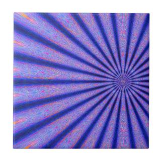 Vibrant Rays of Color Blue Digital Art Tile