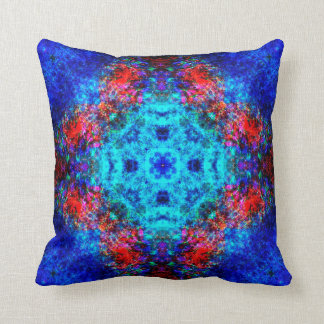 Vibrant red and blue mandala throw pillow