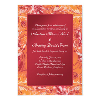 Vibrant Red and Orange Floral Wedding Invitation