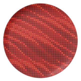 Vibrant red dot & wave pattern plate