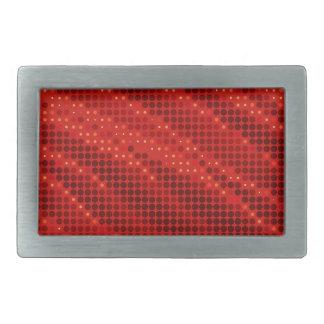 Vibrant red dot & wave pattern rectangular belt buckle