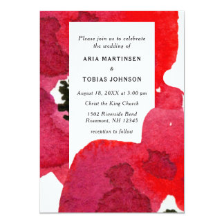 Vibrant Red Floral Anemone Wedding Watercolor Card