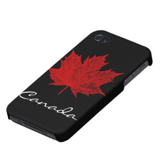 Vibrant Red Maple Leaf- Canada iPhone 4 Covers