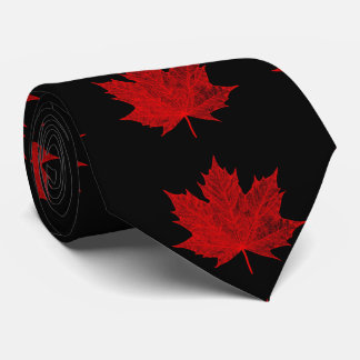 Vibrant Red Maple Leaf Tie
