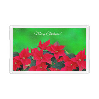Vibrant red poinsettia Christmas serving tray