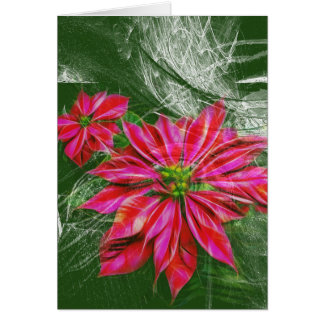 Vibrant red poinsettia vertical card