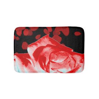 Vibrant Red Rose Bath Mat