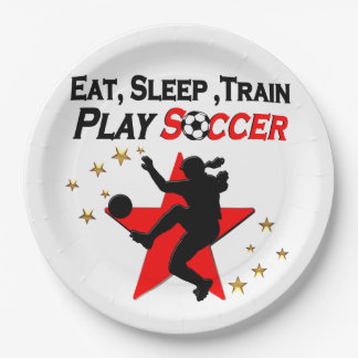 VIBRANT RED SOCCER PLAYER DESIGN 9 INCH PAPER PLATE
