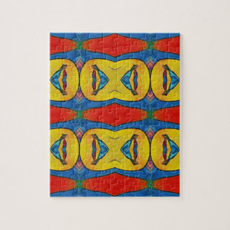 Vibrant Red Yellow Blue Artistic Pattern Jigsaw Puzzle