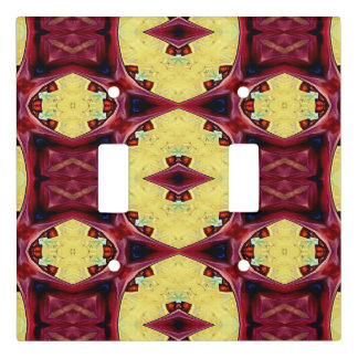 Vibrant Red Yellow Funky Kaleidoscope Pattern Light Switch Cover