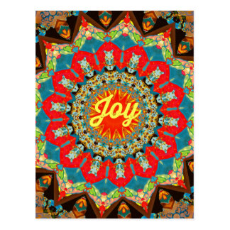 "Vibrant Red Yellow Kaleidoscope ""Joy"" Design Postcard"