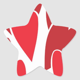 VIBRANT REDS LOVE HEART SHAPES RELATIONSHIPS DATIN STAR STICKER