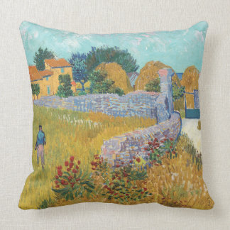 Vibrant Restored Farmhouse in Provence by Van Gogh Throw Pillow