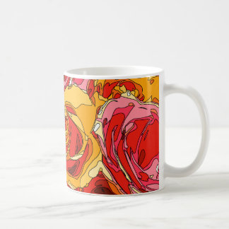 Vibrant Rich Orange and Pink Roses Coffee Mug