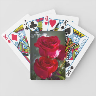 Vibrant Romantic Red Roses Bicycle Playing Cards