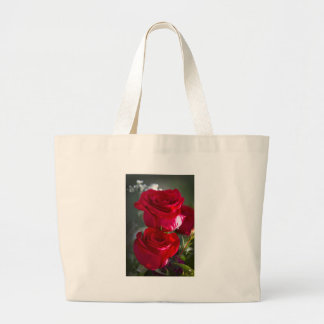 Vibrant Romantic Red Roses Large Tote Bag
