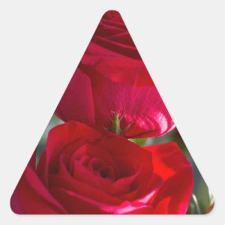 Vibrant Romantic Red Roses Triangle Sticker