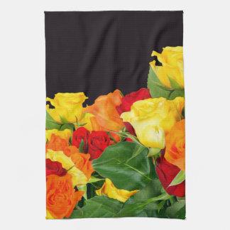 Vibrant Roses Black Background Kitchen Towel