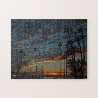 Vibrant San Diego Sunset with Palm Trees Puzzle