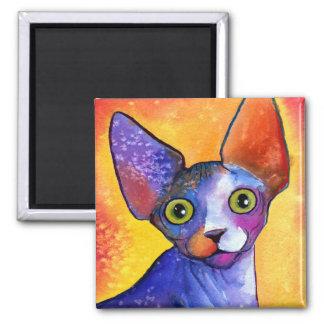 Vibrant sphynx cat 3 painting magnet