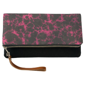 Vibrant Spotted Pink and Black Flames Clutch