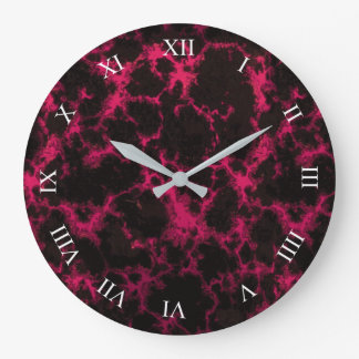 Vibrant Spotted Pink and Black Flames Roman Digits Wall Clock