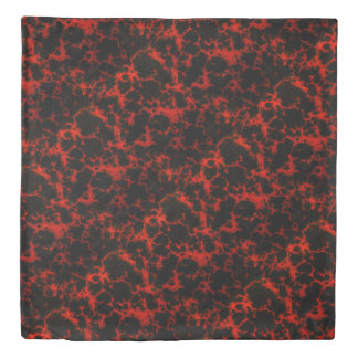 Vibrant Spotted Red and Black Flames Duvet Cover