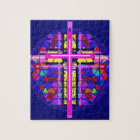 Vibrant Stained Glass Christian Cross. Jigsaw Puzzle