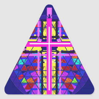Vibrant Stained Glass Christian Cross. Triangle Stickers