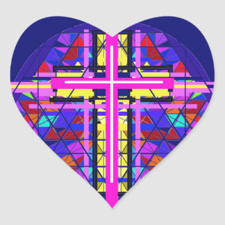 Vibrant Stained Glass Christian Cross Stickers