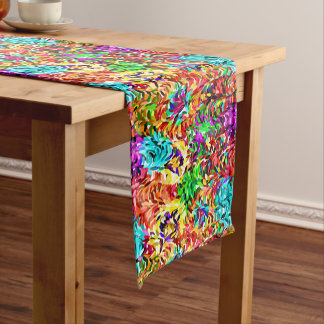 Vibrant Summer Colors Paint Splatter Pattern Medium Table Runner