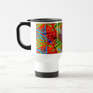 Vibrant Summery Tropical Leafy Abstract Patterned Travel Mug