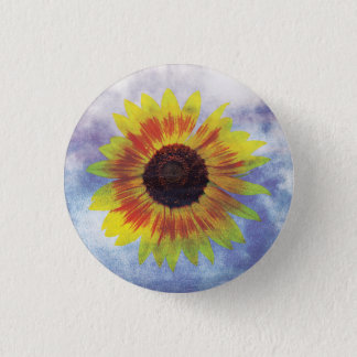 Vibrant Sunflower on Sky - Chilled Peace Look 1 Inch Round Button
