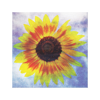 Vibrant Sunflower on Sky - Chilled Peace Look Canvas Print