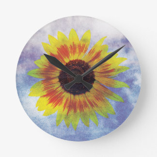 Vibrant Sunflower on Sky - Chilled Peace Look Round Clock