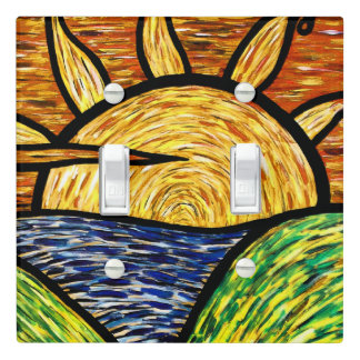 Vibrant Sunrise Painting Light Switch Cover