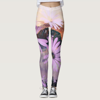 Vibrant Sunset Mountain Print Leggings