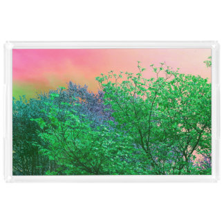 Vibrant Surrealism Neon Colors Tree Tops Acrylic Tray
