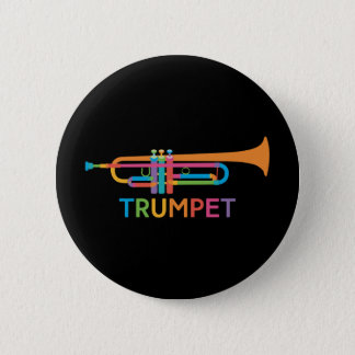 Vibrant Trumpet in Rainbow Colors 2 Inch Round Button